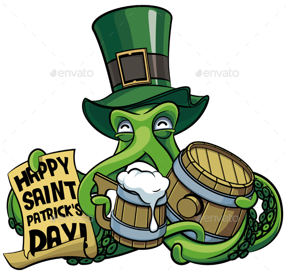 Octopus Celebrating Saint Patricks Day - Monsters Characters