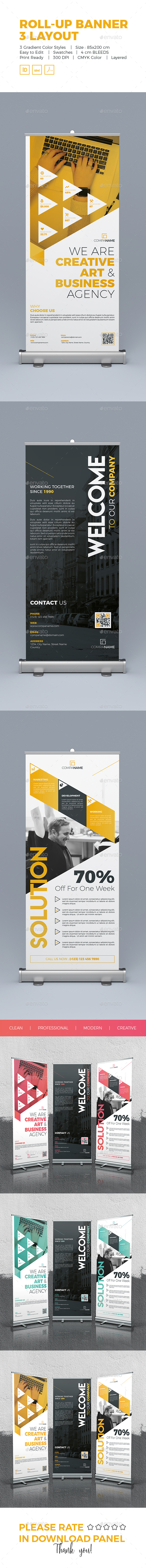 Roll-Up Banner 3 Layout - Signage Print Templates