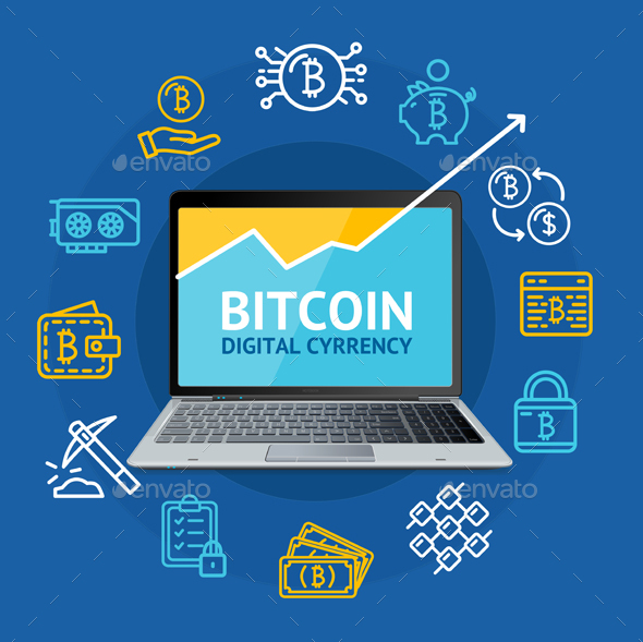 Realistic 3D Detailed Bitcoin Currency Concept - Concepts Business