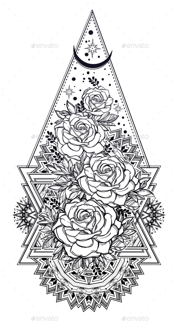 Decorative Ornate Floral Frame with Rose Flowers - Flowers & Plants Nature