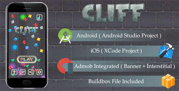 CLIFF Game Template Android & iOS With Admob ( Android Studio + Xcode + Buildbox ) - CodeCanyon Item for Sale