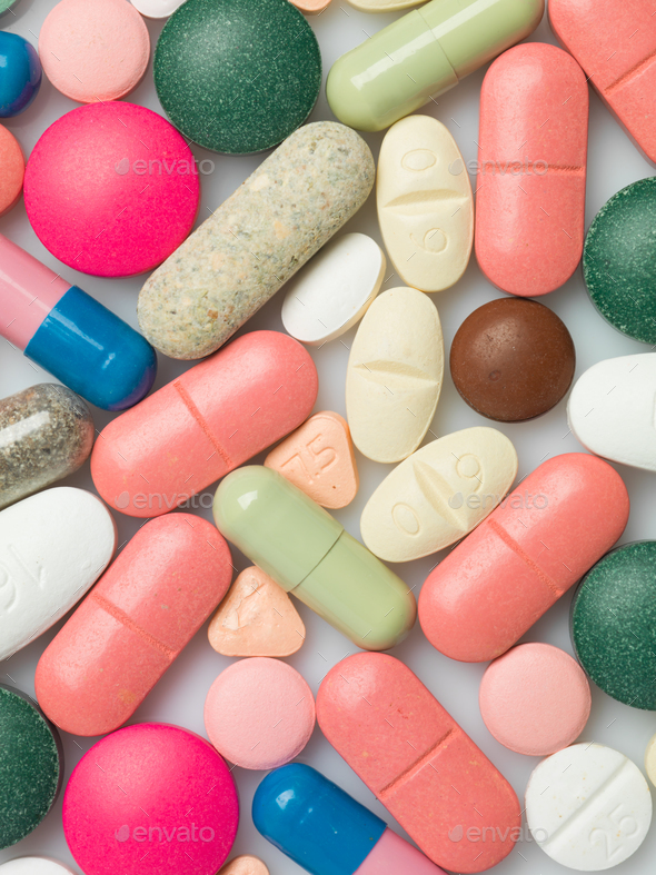 A group of colorful pills - Stock Photo - Images