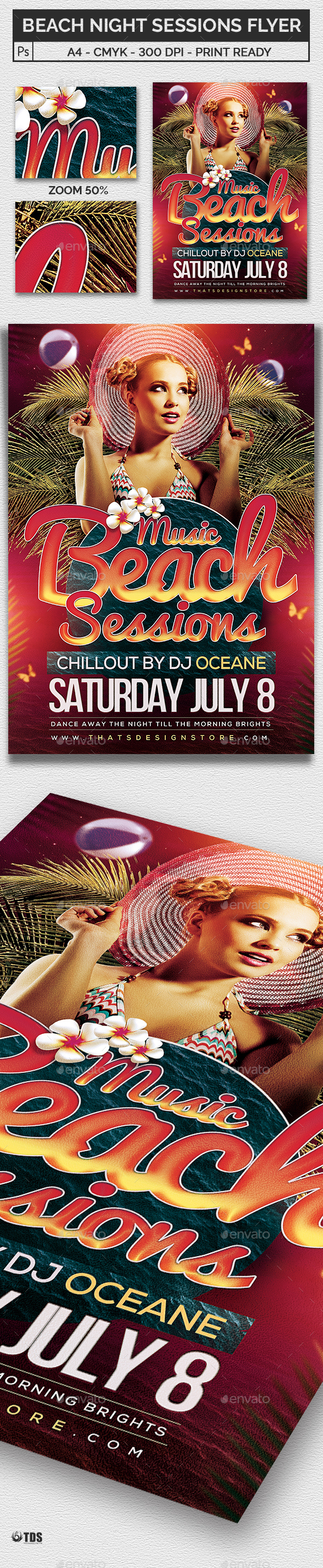 Beach Night Sessions Flyer Template - Clubs & Parties Events