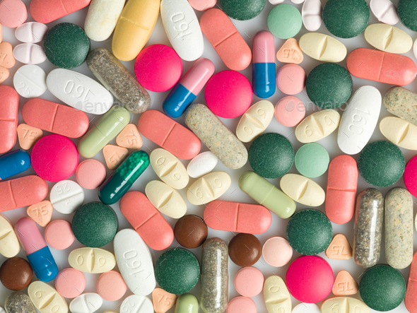 Many coloured medicines of different types - Stock Photo - Images