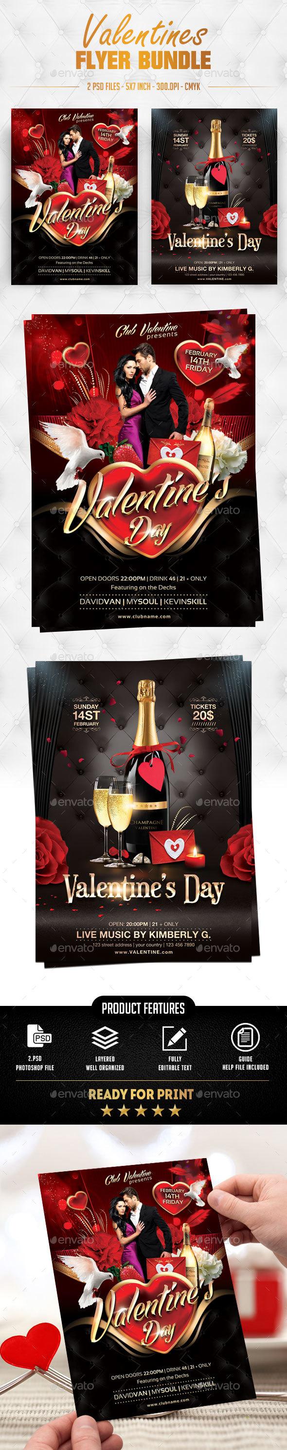 Valentines Flyer Bundle - Flyers Print Templates