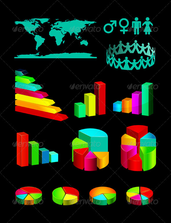 Infographic Vector Graphs and Elements - Infographics