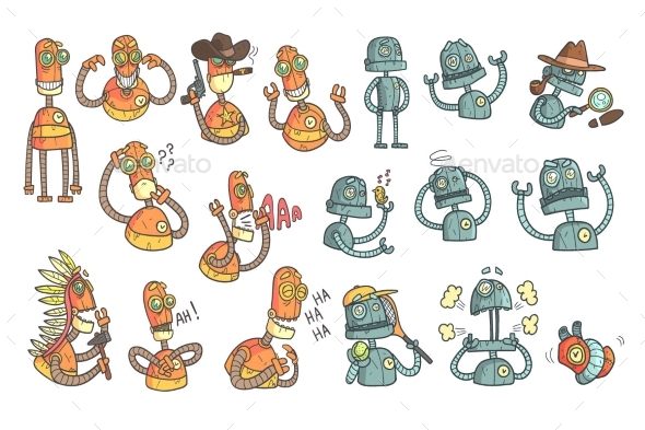 Orange Robot Set Of Cartoon Outlines Portraits - Technology Conceptual
