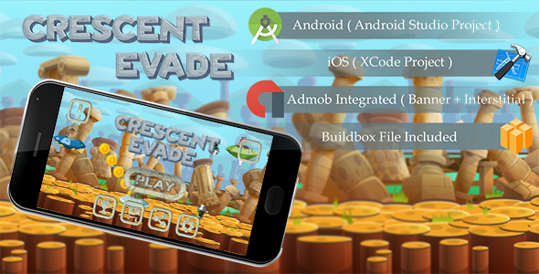 Crescent Evade Game Template Android & iOS With Admob ( Android Studio + Xcode + Buildbox ) - CodeCanyon Item for Sale