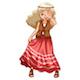Hippie Girl in Red Skirt