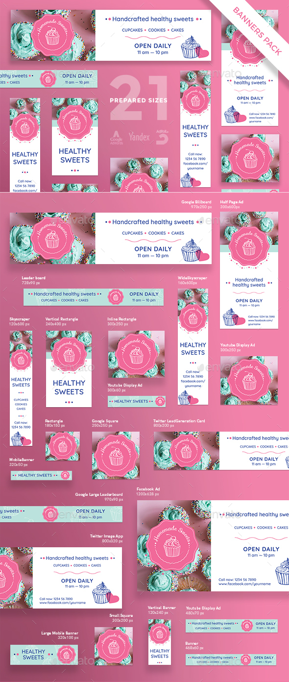 Homemade Sweets Banner Pack - Banners & Ads Web Elements