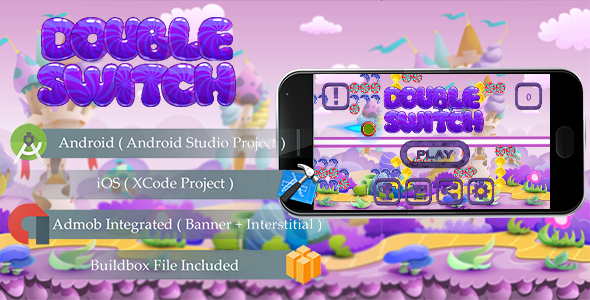 DOUBLE SWITCH Game Template Android & iOS With Admob ( Android Studio + Xcode + Buildbox )