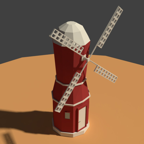 Low Poly Farm Wind Mill 2 - 3DOcean Item for Sale