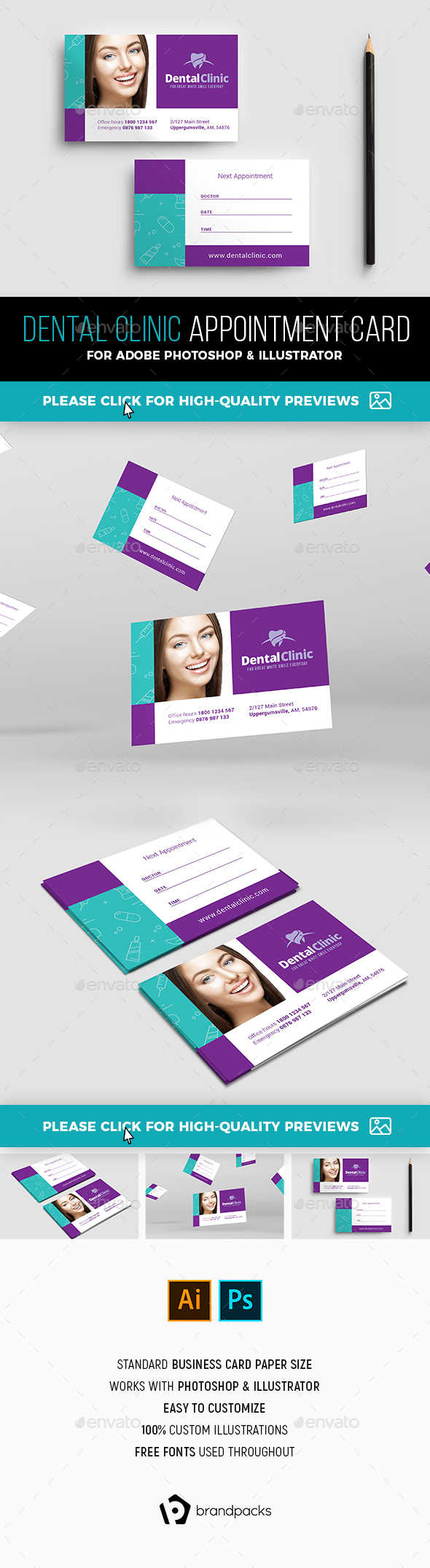 Dental Clinic Appointment Card Template By Brandpacks Graphicriver