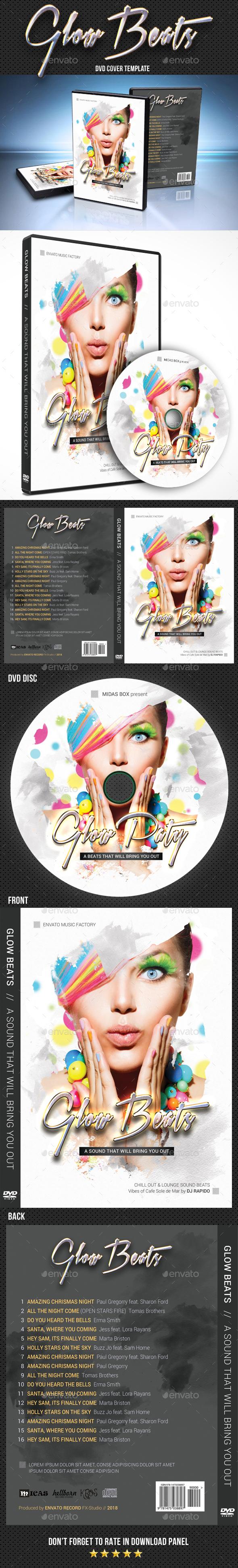 Glow Beats DVD Cover Template - CD & DVD Artwork Print Templates