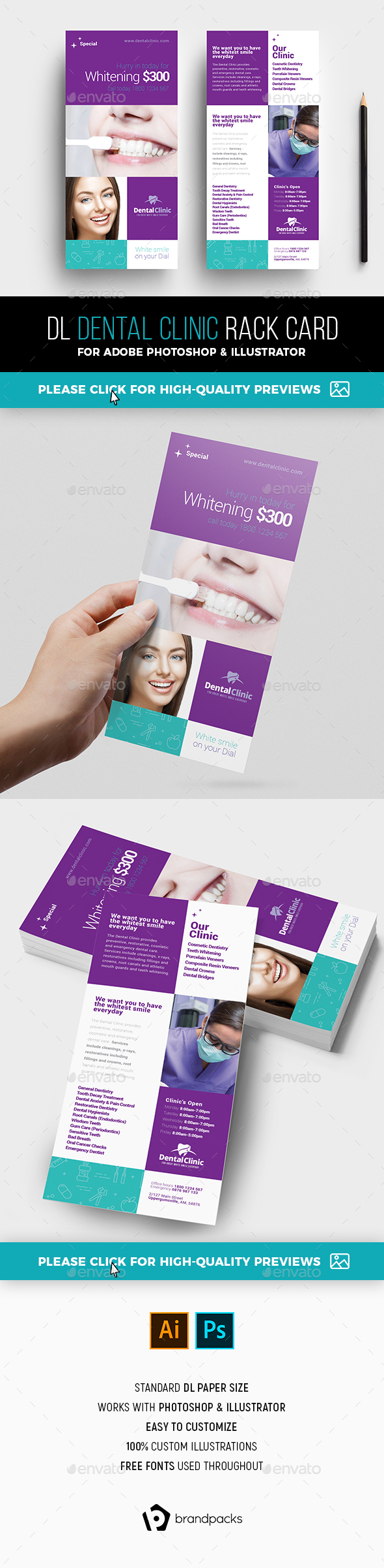 Dental Clinic Rack Card Template - Corporate Flyers