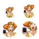 Vector Pop Art Avatar Icon of Shocked Woman