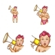 Vector Baby Girl with Megaphone Avatar Icons