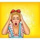 Vector Pop Art Pin Up Shocked or Surprised Blonde