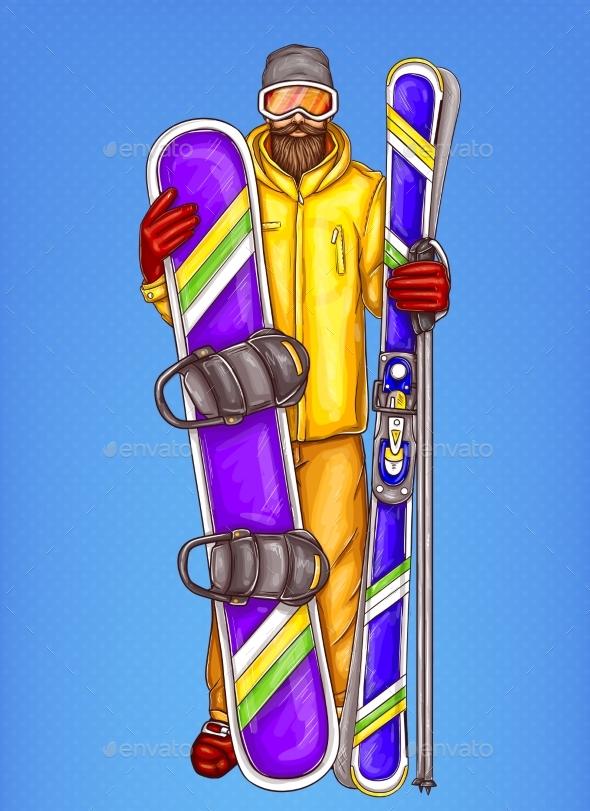Vector Pop Art Snowboarder - Cartoon Bearded Man