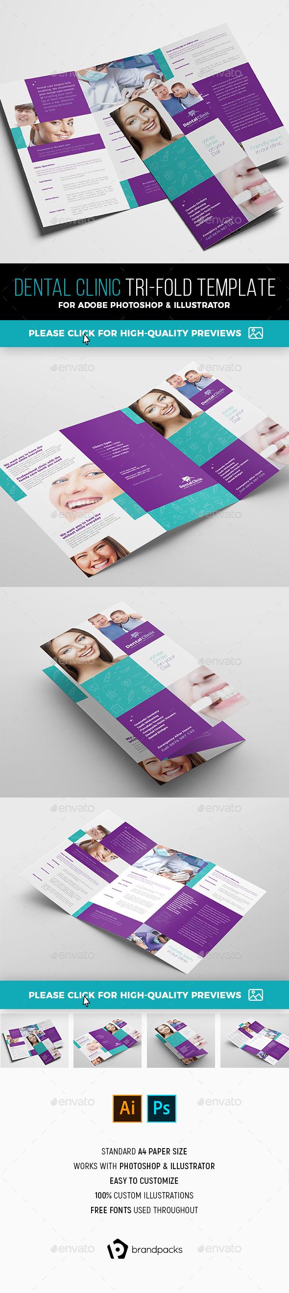 Dental Clinic Tri-Fold Brochure Template - Corporate Brochures