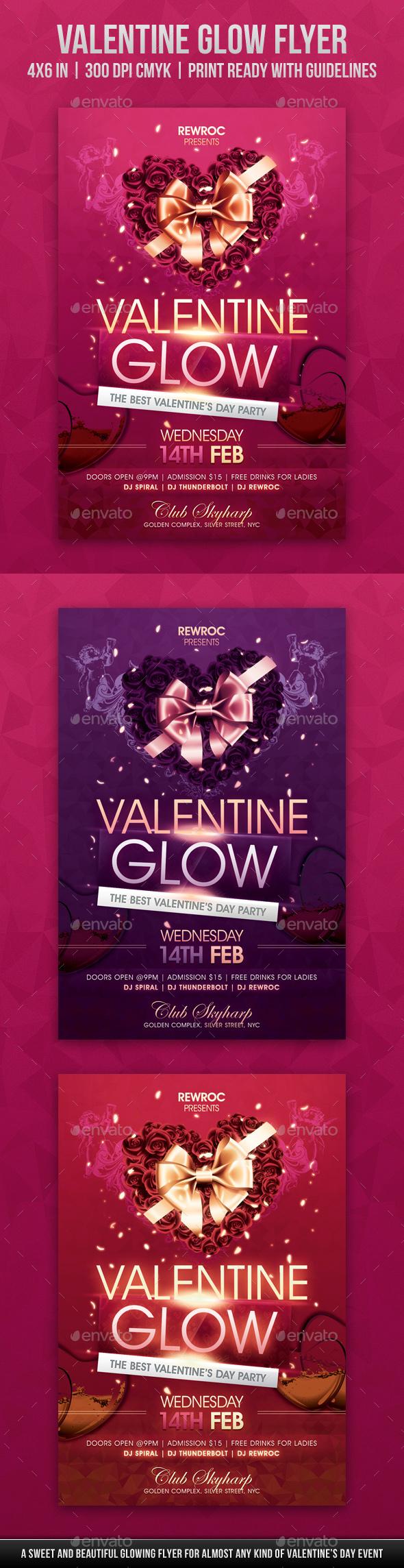 Valentine Glow Flyer - Holidays Events