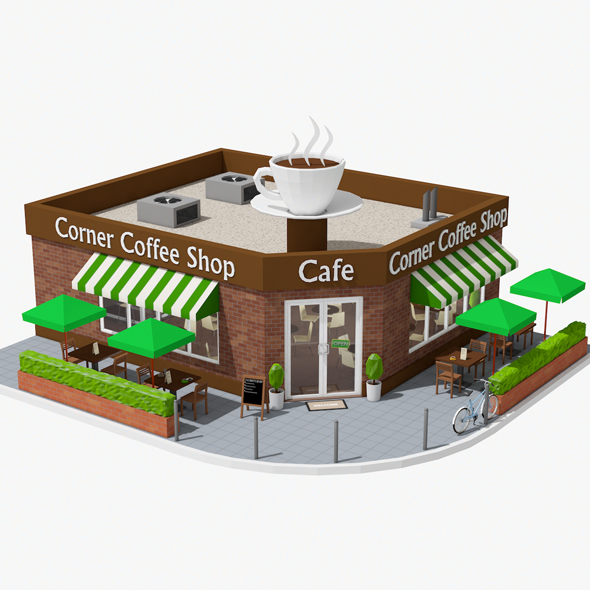 Corner Coffee Shop (interior/exterior) - 3DOcean Item for Sale