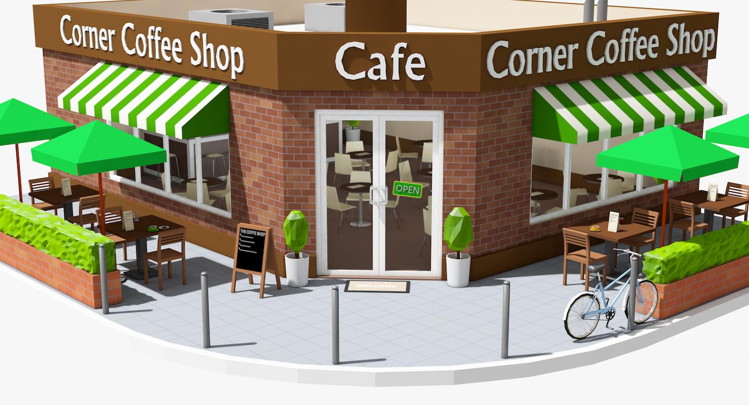 Corner Coffee Shop Interior Exterior By Formd 3docean