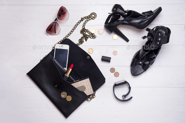 modern beautiful women's set of fashion accessories and cosmetics. - Stock Photo - Images