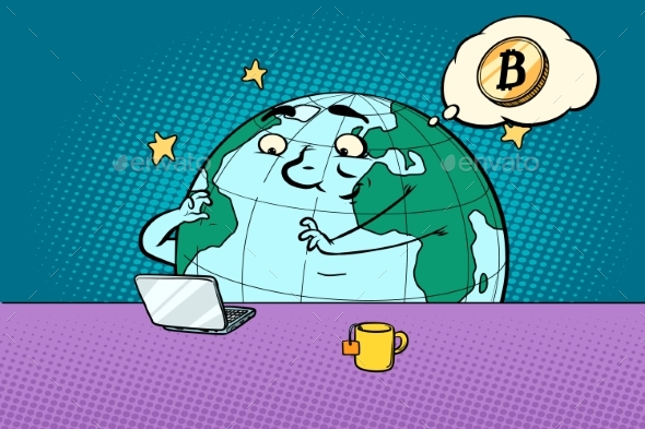 Planet Character Reads the News on Bitcoin - Concepts Business