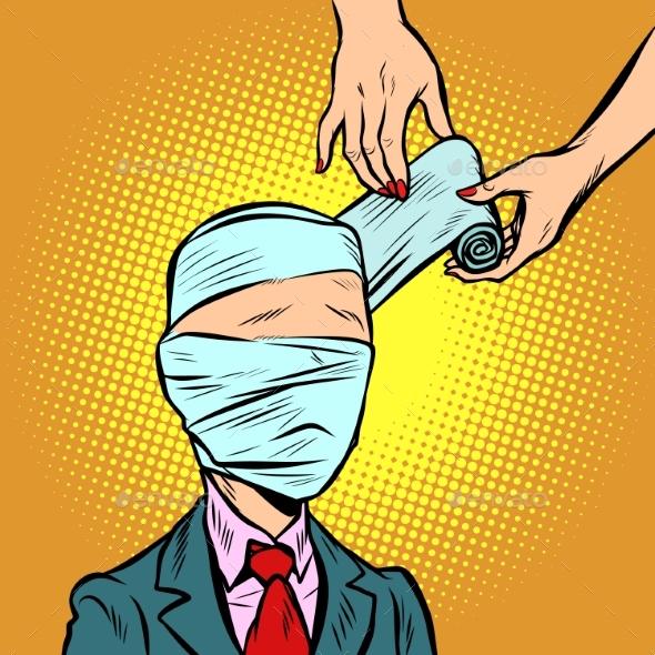 Bandaged Head Medical Assistance - Health/Medicine Conceptual