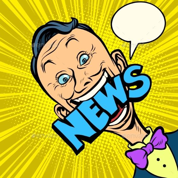 News Pop Art Man Journalist - People Characters