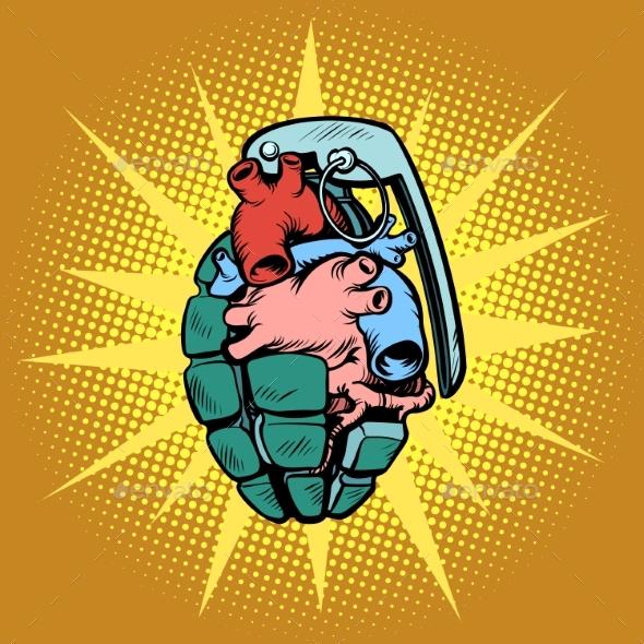 Hand Grenade Heart - Miscellaneous Vectors
