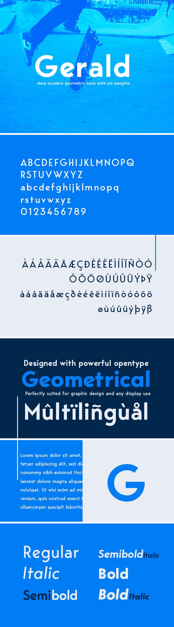 Gerald Sans Font - Geometric Modern Typeface