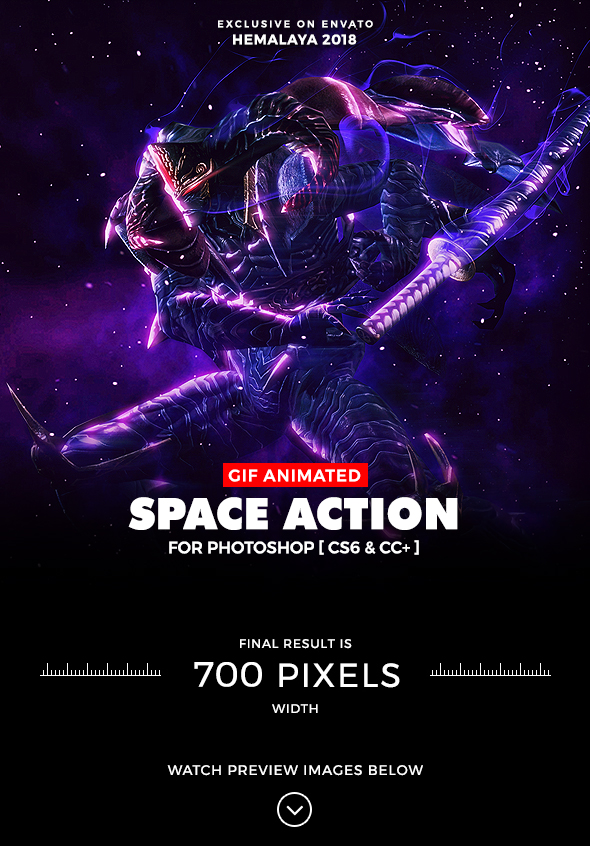 Animated Space Photoshop Action - Photo Effects Actions