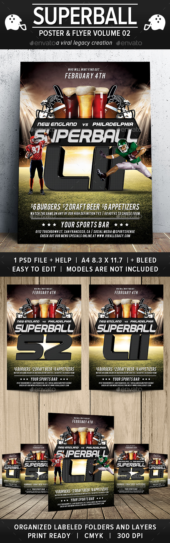 Superball Football Poster / Flyer V02 - Sports Events