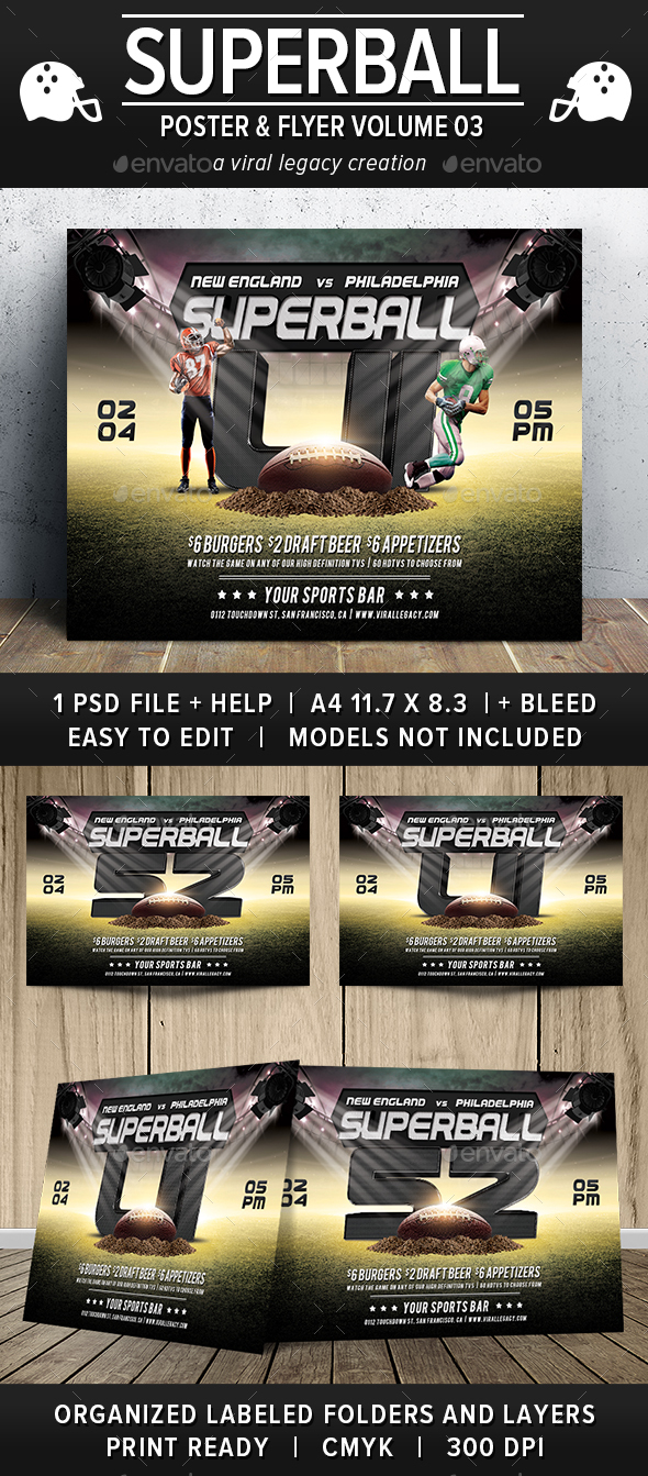 Superball Football Poster / Flyer V03 - Sports Events