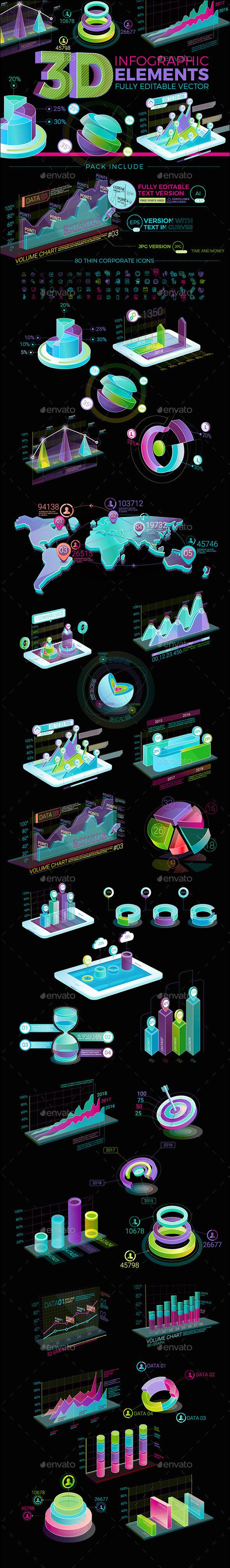 3D Infographic Elements - Infographics