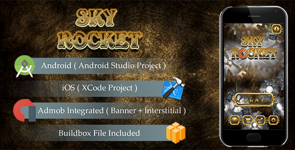 SKY ROCKET Game Template Android & iOS With Admob ( Android Studio + Xcode + Buildbox ) - CodeCanyon Item for Sale