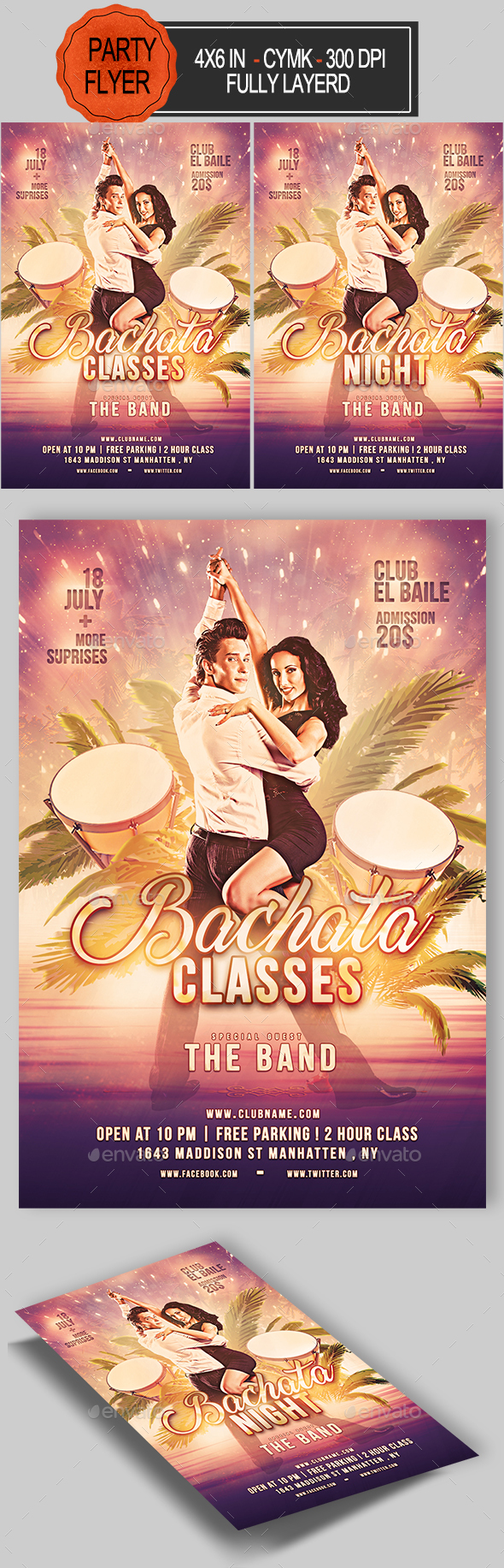 Bachata Night Flyer - Clubs & Parties Events