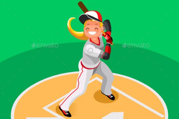 Baseball Vector Girl Mascot Poster - Sports/Activity Conceptual