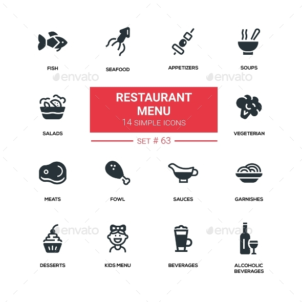 Restaurant Menu - Line Design Silhouette Icons Set - Miscellaneous Icons