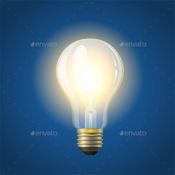 Glowing Incandescent Bulb - Modern Vector - Man-made Objects Objects