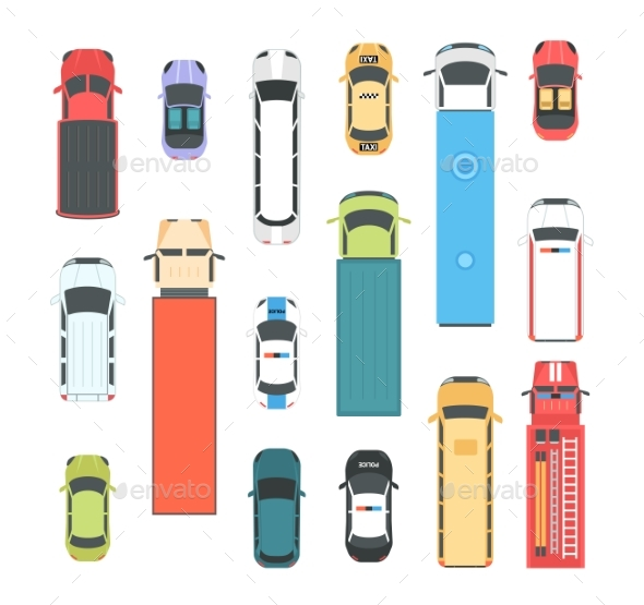 Vehicles - Set of Modern Vector City Elements - Man-made Objects Objects