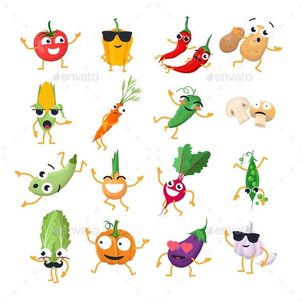 Vegetables - Vector Isolated Cartoons - Miscellaneous Characters