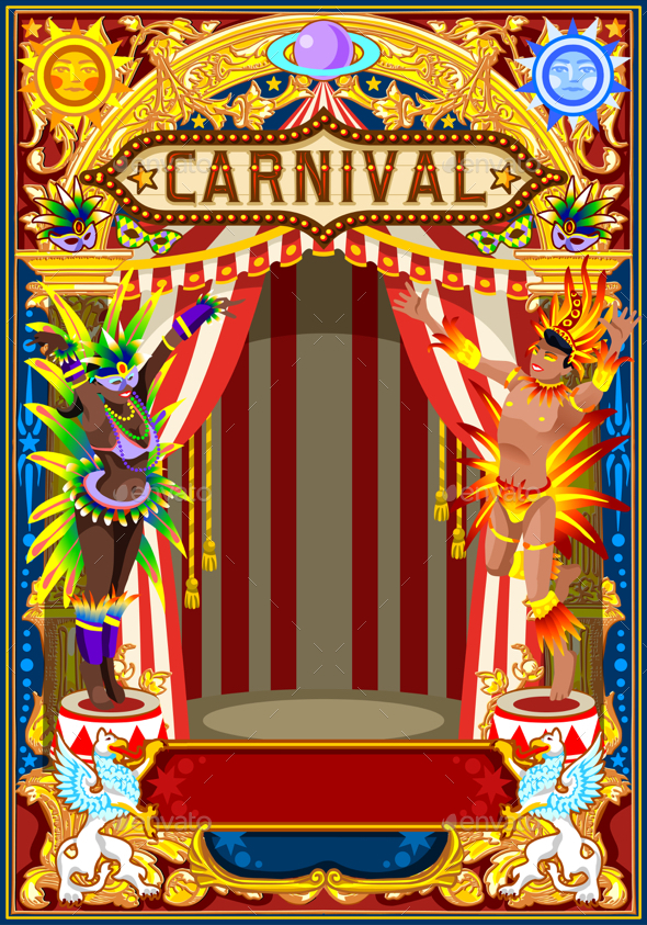 Carnival Poster for Mardi Gras - Backgrounds Decorative