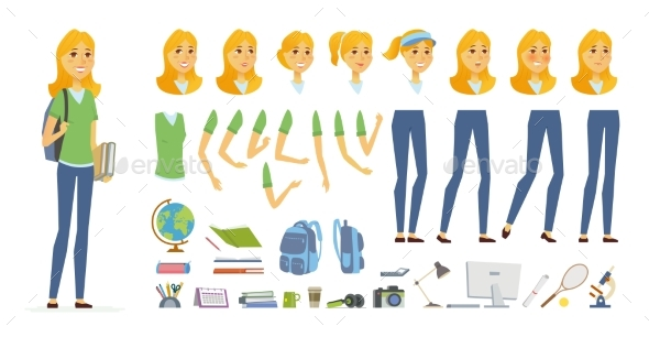 Student - Vector Cartoon People Character - People Characters