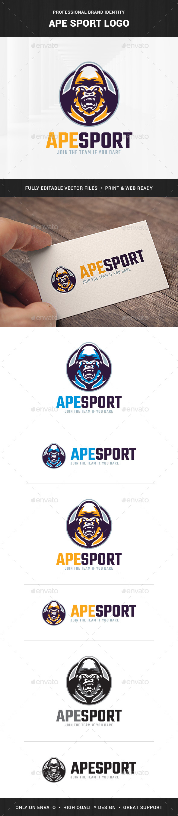 Ape Sport Logo Template - Animals Logo Templates