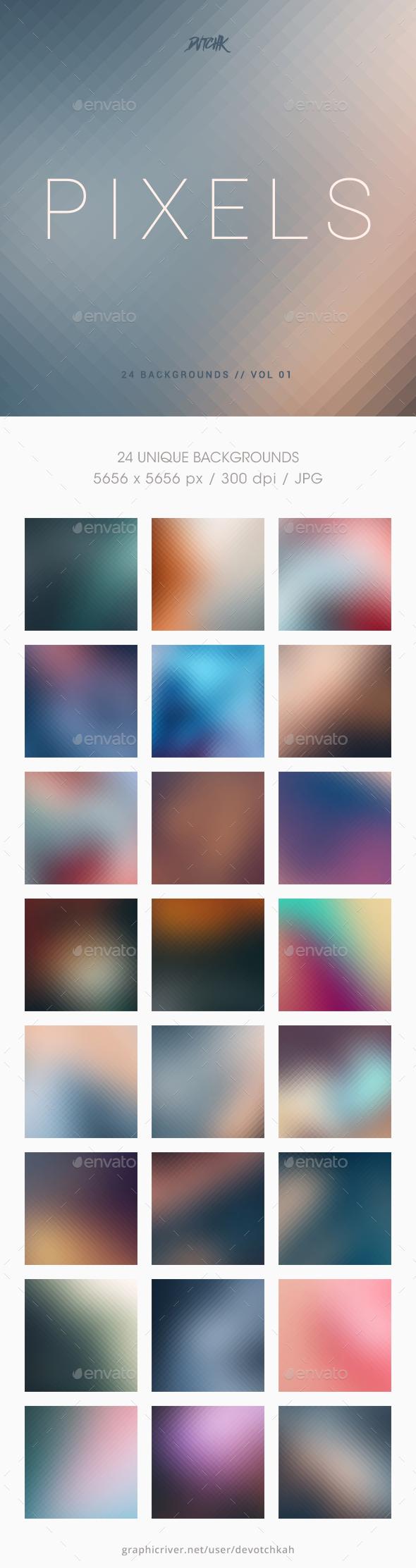 Pixels | Pixelated Backgrounds | Vol. 01 - Backgrounds Graphics