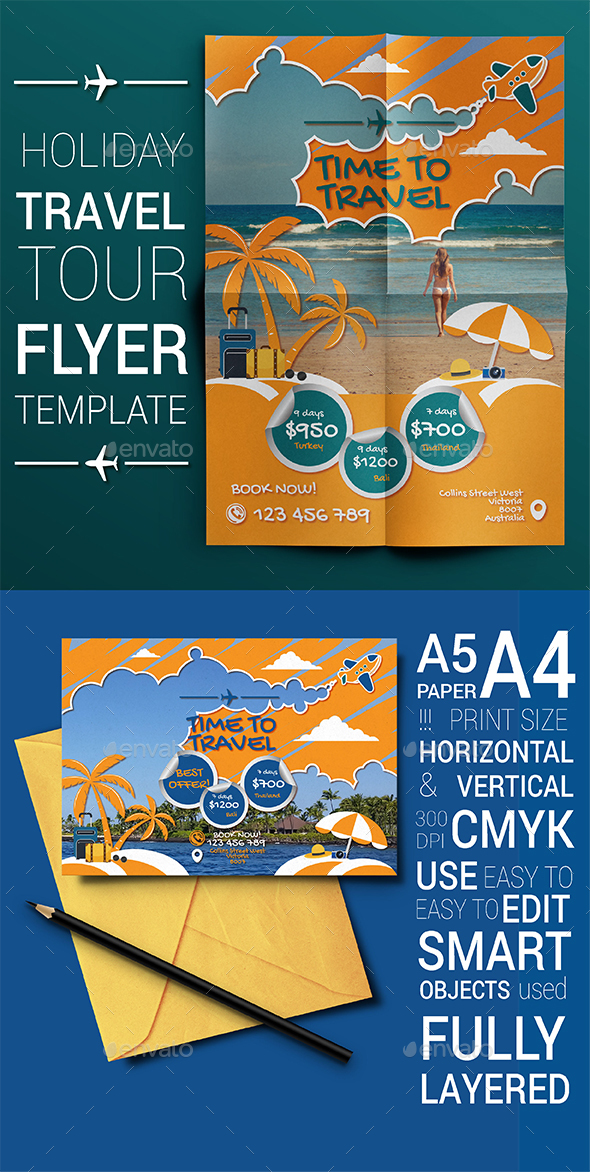Travel Holiday Tour Flyer Temlate - Flyers Print Templates