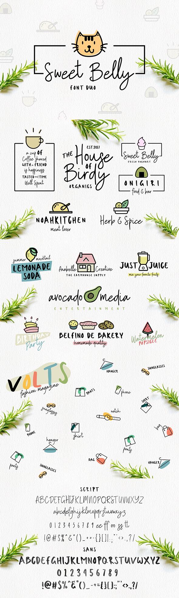Sweet Belly | Font Duo - Script Fonts